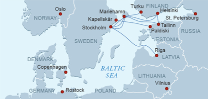 Tallink 2013 Route map